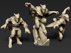 Gargoyles - Complete Set - 3 Miniatures 28/30mm Sc in Frosted Ultra Detail