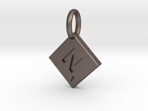 SCRABBLE TILE PENDANT  N  in Polished Bronzed Silver Steel
