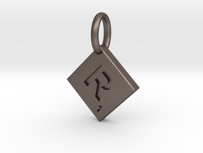 SCRABBLE TILE PENDANT  R  in Polished Bronzed Silver Steel