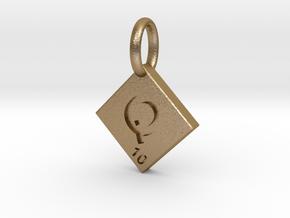 SCRABBLE TILE PENDANT Q  in Polished Gold Steel