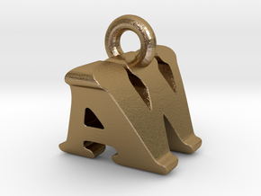 3D Monogram Pendant - AWF1 in Polished Gold Steel