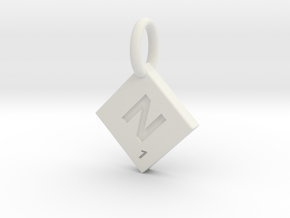 SCRABBLE TILE PENDANT  N  in White Natural Versatile Plastic