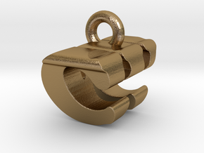 3D Monogram Pendant - CWF1 in Polished Gold Steel