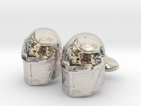 Medieval Helmet Cufflinks in Platinum