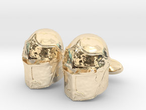 Medieval Helmet Cufflinks in 14K Yellow Gold