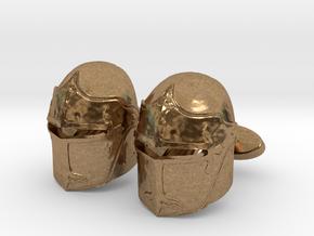 Medieval Helmet Cufflinks in Natural Brass