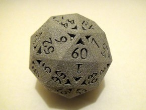 60 Sided Die - Regular in White Natural Versatile Plastic