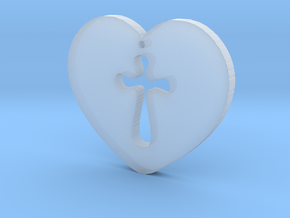 Cross Heart Pendant in Smooth Fine Detail Plastic