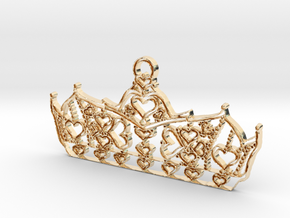 Queen of Hearts crown tiara charm or pendant 2mm t in 14K Yellow Gold