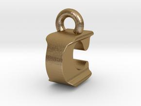 3D Monogram Pendant - ICF1 in Polished Gold Steel