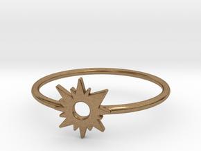 Sun Midi Ring 16mm inner diameter by CURIO in Natural Brass