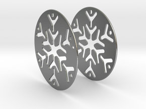 Snowflake 3 Hoop Earrings 50mm in Natural Silver