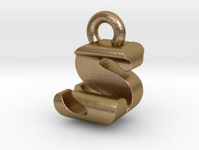 3D Monogram - SJF1 in Polished Gold Steel