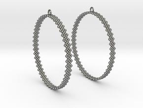 Pearl Hoop Earrings 60mm in Polished Silver