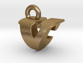 3D Monogram - VCF1 in Polished Gold Steel