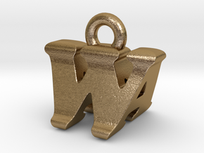 3D Monogram - WAF1 in Polished Gold Steel