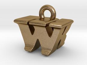 3D Monogram - WRF1 in Polished Gold Steel