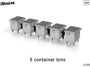 5 Container Bins (1:160) in Smooth Fine Detail Plastic