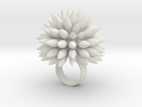 Dahly Ring in White Natural Versatile Plastic