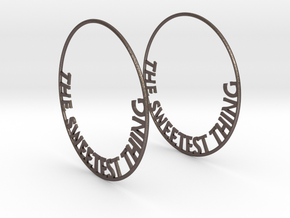 The Sweetest Thing Hoop Earrings 60mm in Polished Bronzed Silver Steel