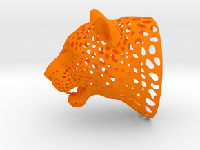 Leopard Head sculpture. WT-1. 15 cm in Orange Processed Versatile Plastic