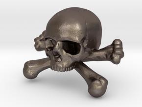 12mm .47in Skull & Bones for earring in Polished Bronzed Silver Steel
