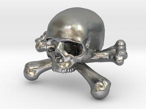 12mm .47in Skull & Bones for earring in Natural Silver