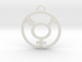 TransGender Pendant-Simple in White Natural Versatile Plastic
