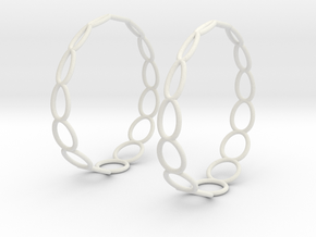 Curvy Wire 1 Hoop Earrings 50mm in White Natural Versatile Plastic