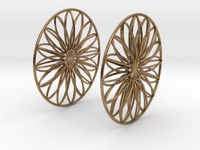 Flowerish 9 Big Hoop Earrings 60mm in Natural Brass