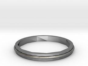 Square Two Ring - Sz. 7 in Fine Detail Polished Silver