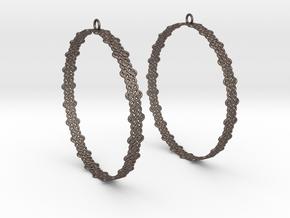 Knitted 2 Hoop Earrings 60mm in Polished Bronzed Silver Steel