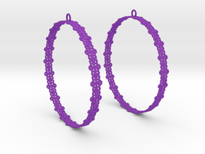 Knitted 2 Hoop Earrings 60mm in Purple Strong & Flexible Polished