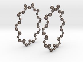 Molecule Big Hoop Earrings 60mm in Polished Bronzed Silver Steel