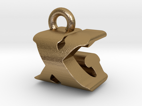 3D Monogram - XGF1 in Polished Gold Steel