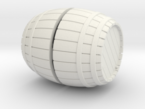 1/56th (28 mm) scale wooden barrel in White Natural Versatile Plastic