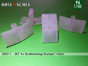 SET 4x Straßenbelag-Stempel 14mm (N 1:160) in Smooth Fine Detail Plastic