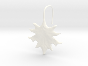 Oak Leaf Earring (~16 gauge wire thickness) in White Processed Versatile Plastic