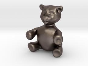 """BIG (3"""") Teddy Bear! in Polished Bronzed Silver Steel"""