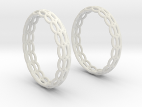 Wired Beauty 4 Hoop Earrings 30mm in White Natural Versatile Plastic