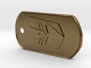 Decepticon Dog Tag (Rimmed) in Natural Bronze