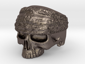 WR Ring Skull Bandana - Size 9.5 in Polished Bronzed Silver Steel
