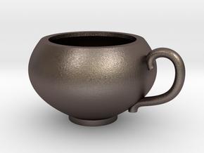 Pendentif Tasse de Thé - Pendant Teacup in Polished Bronzed Silver Steel