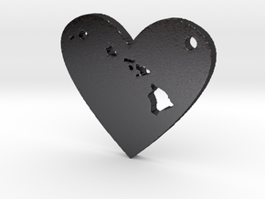 I Heart Hawaii Pendant in Polished Grey Steel