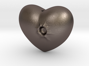 Heart with a bullet hole in Polished Bronzed Silver Steel