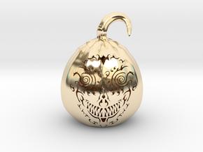 Pumpkin Skull 1 in 14K Yellow Gold