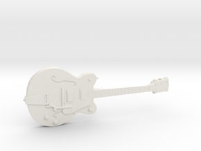 Big Old Style Hollow Body Guitar 1:18 in White Natural Versatile Plastic