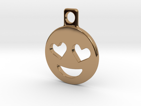 Heart Eyes Emoji Keychain in Polished Brass