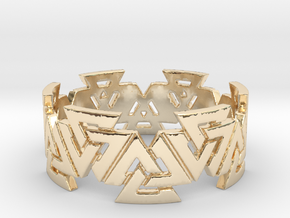 Valknut Ring. Sizes available  in links below. in 14K Yellow Gold