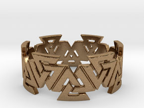 Valknut Ring. Sizes available  in links below. in Natural Brass